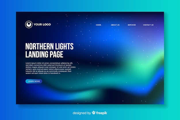 Beautiful northern lights landing page