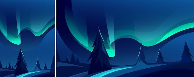 美しいオーロラ。自然光のある風景がさまざまな形式で表示されます。