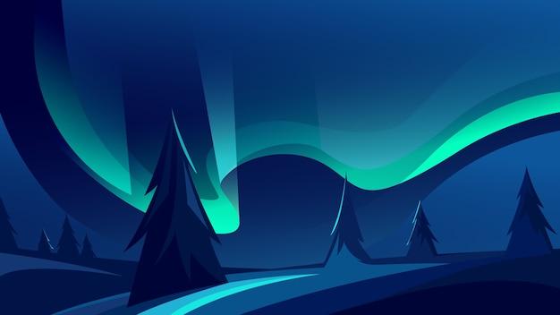 美しいオーロラ。自然光のショー。