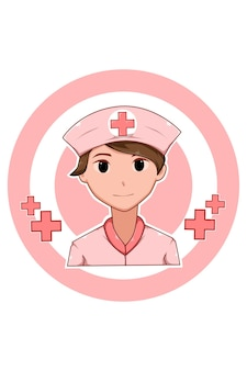 Beautiful nurse in labor day cartoon illustration