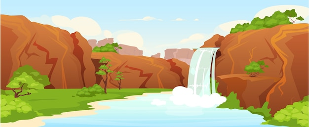 아름다운 오아시스 평면 컬러 일러스트입니다. 자연 폭포, 배경에 녹지와 공원 2d 만화 풍경. 그림 같은 정원, 자연 보호 구역. 목가적 인 휴양지, 휴양지