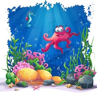 美しいタコ、珊瑚、色とりどりのサンゴ礁、砂浜の藻類。海の風景のベクトルイラスト。