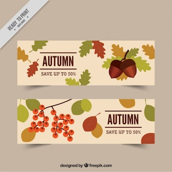 Beautiful offers banners with autumn leaves