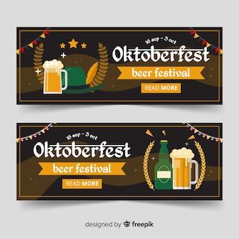 Beautiful oktoberfest banners with flat design