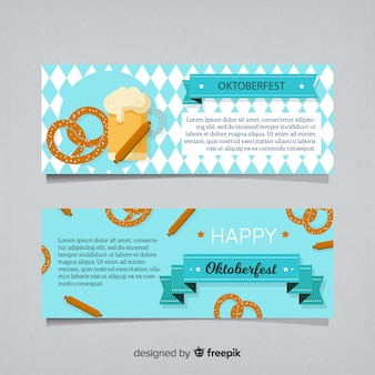 Beautiful oktoberfest banners with flat design