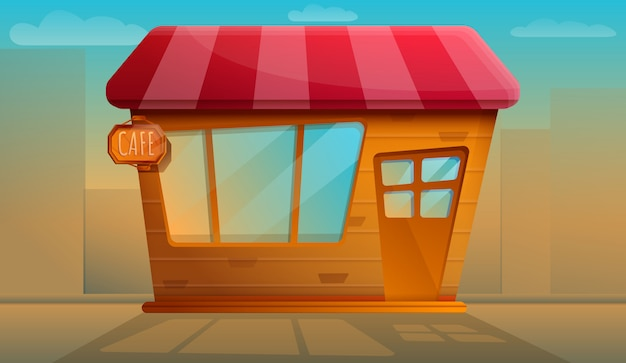 Beautiful old cafe working evening, vector illustration