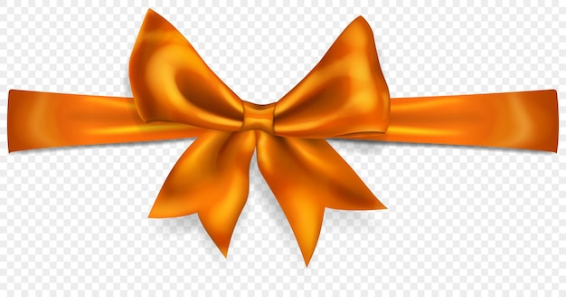 Beautiful orange bow with horizontal ribbon with shadow, isolated on transparent background. transparency only in vector format