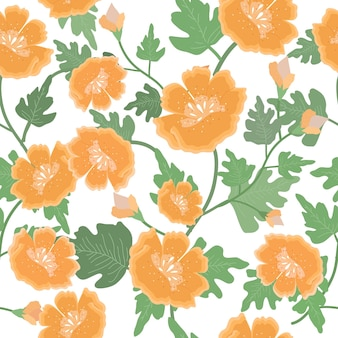 Beautiful orange flower and leaf seamless pattern.