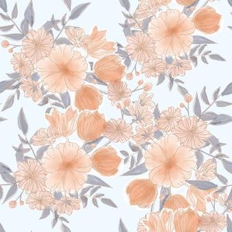 Beautiful orange flower seamless pattern