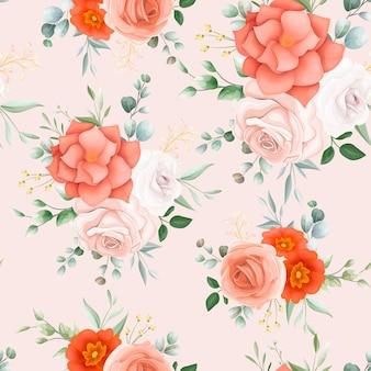 美しいオレンジ色の花のシームレスなパターン