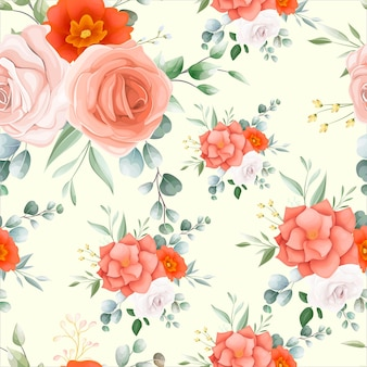 Beautiful orange flower seamless pattern