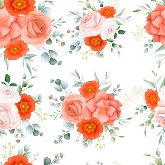 아름 다운 오렌지 꽃 원활한 패턴