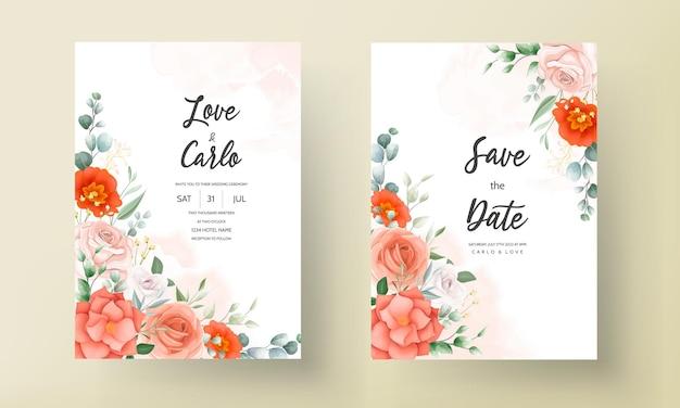 아름 다운 오렌지 꽃 결혼식 초대 카드 서식 파일