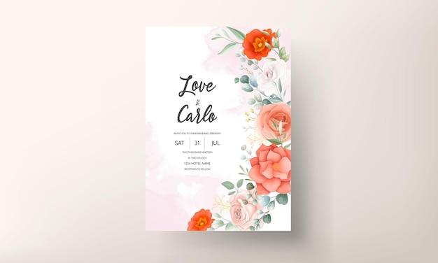 美しいオレンジ色の花の結婚式の招待カードのテンプレート