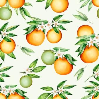 美しいオレンジ色の果物と葉のシームレスなパターン