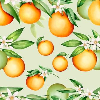 Beautiful orange fruits and leaves seamless pattern