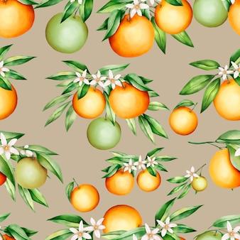Beautiful orange fruits and leaves seamless pattern