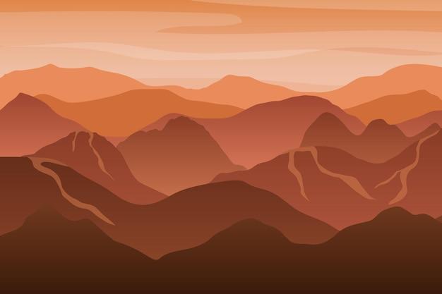 석양에 아름 다운 오렌지 산 실루엣 풍경입니다. 벡터 일러스트 레이 션