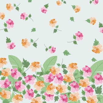 Beautiful orange and pink floral with leaf pattern.