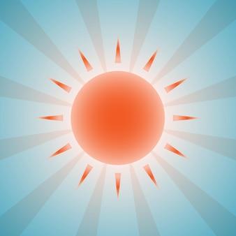 Красивое оранжевое солнце и лучи на фоне голубого неба. eps 10 векторные иллюстрации, прозрачность и радиальные градиенты используются