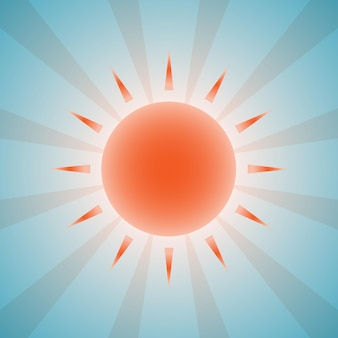 Beautiful orange sun and beams on blue sky background. eps 10 vector illustration, transparency and radial gradients used