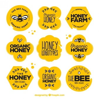 Beautiful organic honey stickers with drawings set
