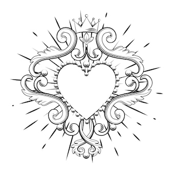 Beautiful ornamental heart with crown