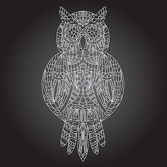 Beautiful ornamental owl graphic on a black background
