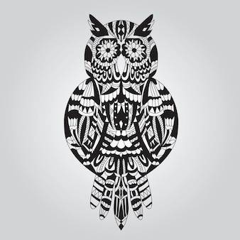 Beautiful ornamental owl graphic on a light background