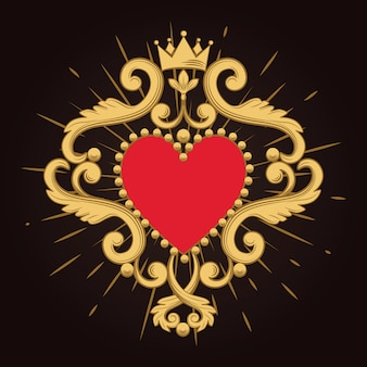 Beautiful ornamental red heart with crown on black background.