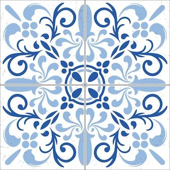 美しい装飾タイルパターン。背景、壁紙の青いヴィンテージ。