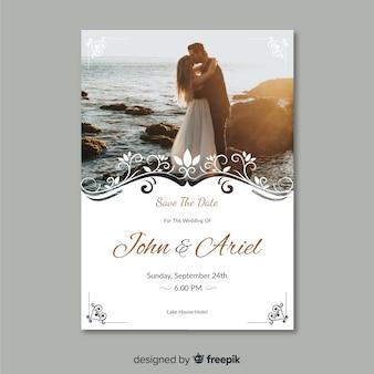 Beautiful ornamental wedding invitation template with photo