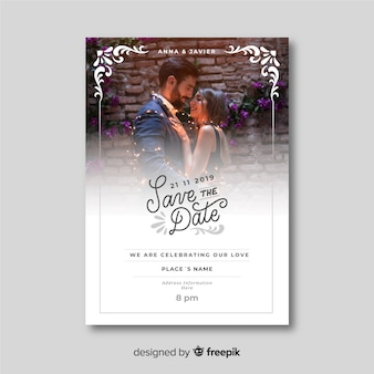 Beautiful ornamental wedding invitation template with photo