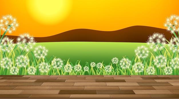 ポーチからの美しい屋外自然シーンの背景ビュー