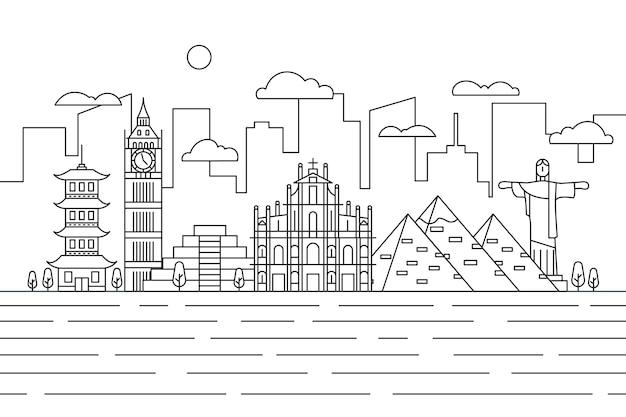 Beautiful outline landmarks skyline