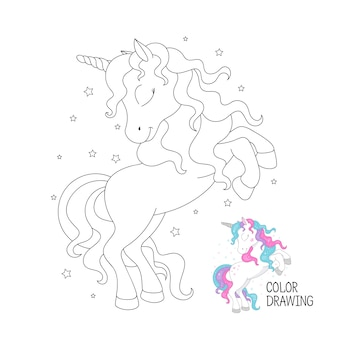 Beautiful outline unicorn. coloring page for children.