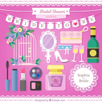 Beautiful pack of bridal shower elements in flat design