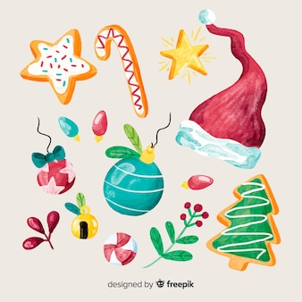 Beautiful pack of watercolor christmas elements