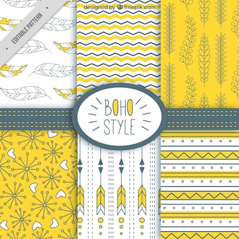 Beautiful pack of patterns in boho style