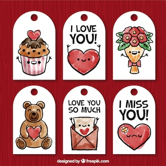 Beautiful pack of six valentine labels in watercolor style