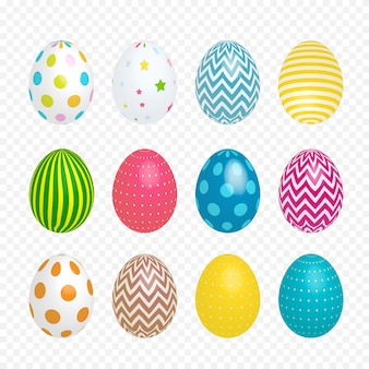Beautiful painted eggs for easter on transparent background.  illustration