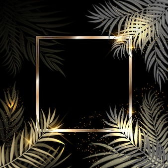 Beautiful palm tree leaf golden silhouette background with frame
