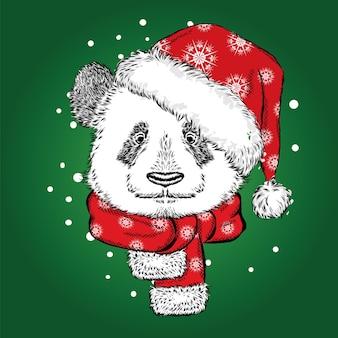 Красивая панда в новогодней шапке и шарфе.