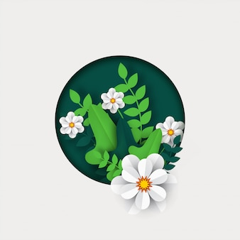 Beautiful paper cut style white flowers with green leaves.