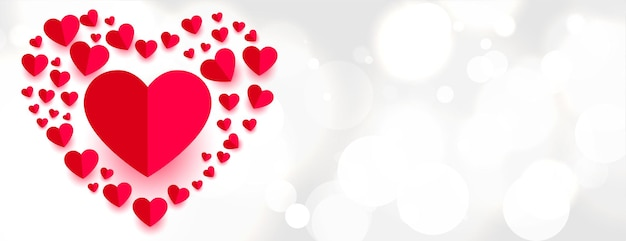 Красивые бумажные сердечки в стиле любовного баннера