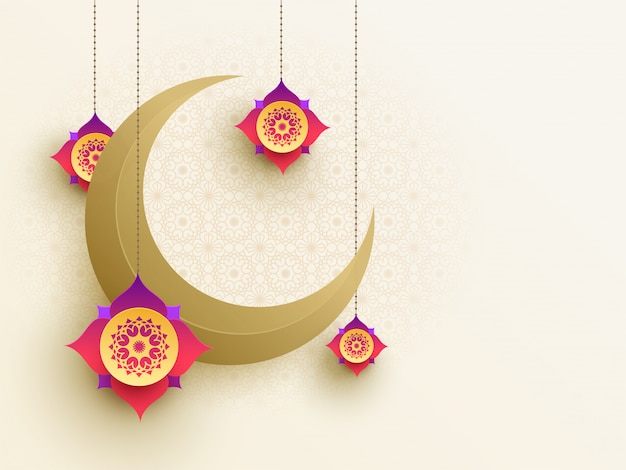 Beautiful paper moon and hanging floral design