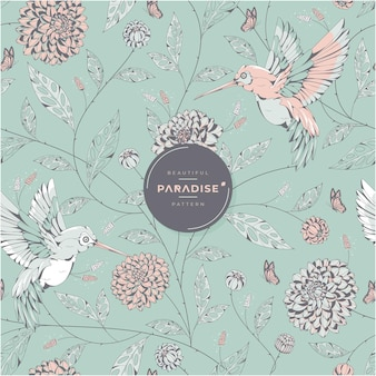 Beautiful paradise birds and floral pattern