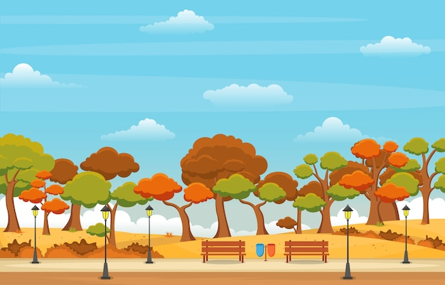 Beautiful park garden in fall autumn with tree sky landscape illustration