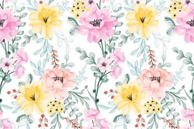 Beautiful pastel color flowers seamless pattern
