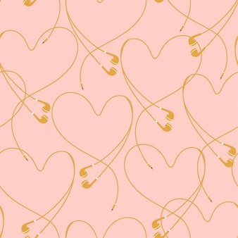 Beautiful pastel eyephone create positive heart seamless pattern vector